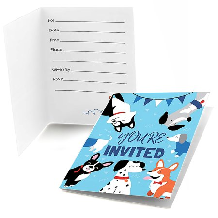 Pawty Like a Puppy - Fill in Dog Baby Shower or Birthday Party Invitations (8 Count) ()