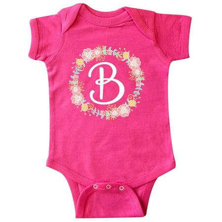 Alphabet Baby Clothes - B Monogram Alphabet Letter Rose Floral Wreath Infant Creeper