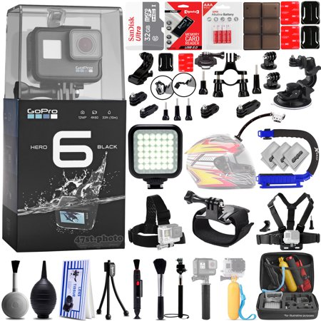 GoPro Hero 6 Black 4K Digital Camera w/ 32GB - 40PC Sport Action Bundle / 32GB Class 10 Memory Card - Window Mount - Helmet Mount - Chest Mount - X-GRIP -  High Power LED Video Light and MUCH MORE