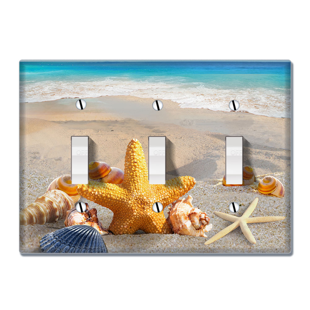 Wirester 3 Gang Toggle Wall Plate Switch Plate Cover Seashells On The Beach Walmart Com Walmart Com