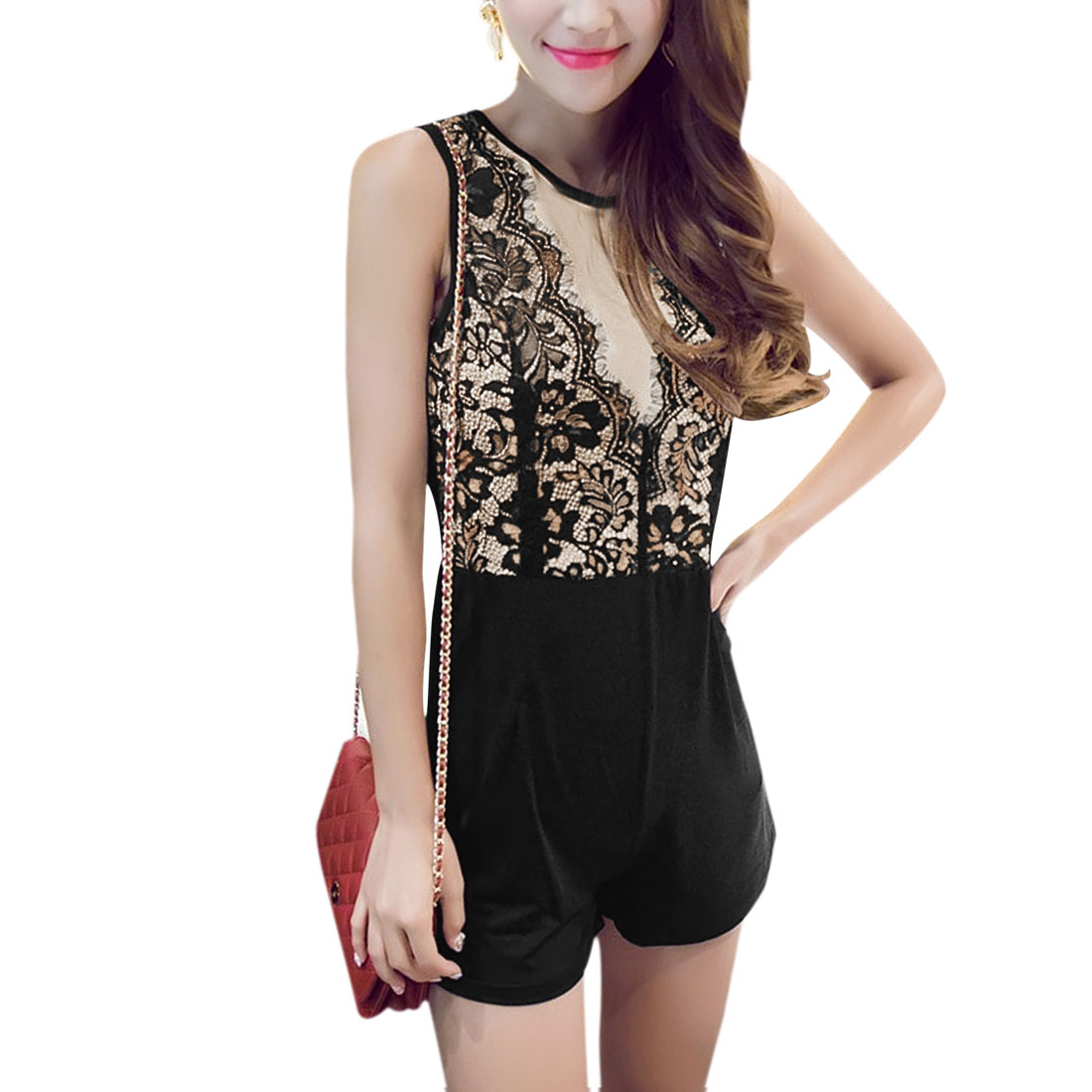Women's Floral Design Lace Panel Cut Out Back Sleeveless Romper Black Beige S