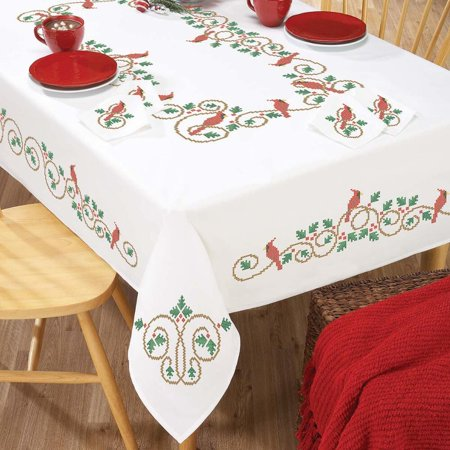 Herrschners Holly & Cardinal Table Linens Stamped Cross-Stitch