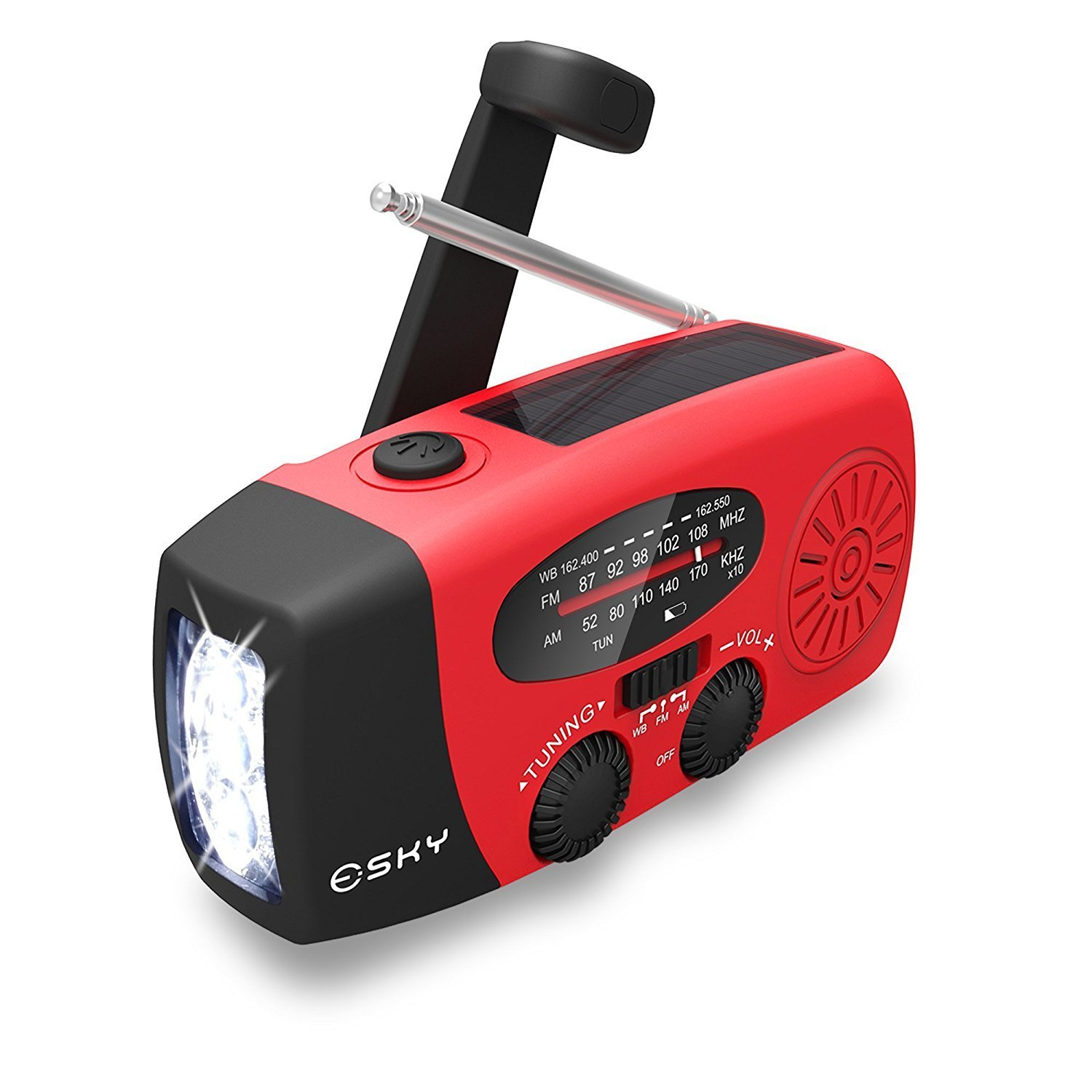 Esky Emergency Solar Hand Crank Radio, AM/FM/WB Weather Radio LED Flashlight Smart Phone Charger Power Bank with Cables, Red