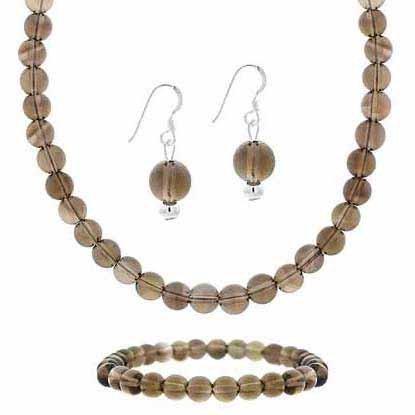 Sterling Silver Smokey Quartz Bead Dangle Earrings, Stretch Bracelet & Necklace Jewelry Set ()