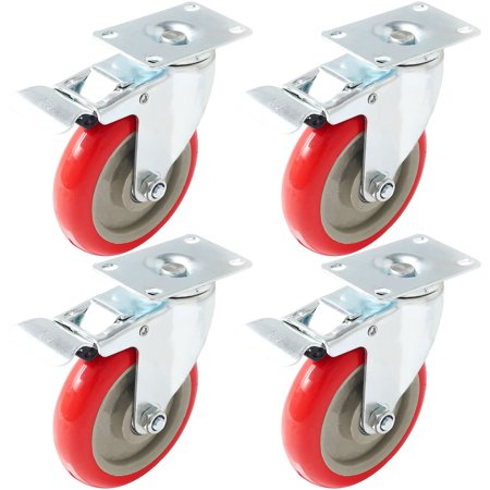 4 Pack 5 Inch Caster Wheels Swivel Plate with Brake on Red Polyurethane Heavy Duty Wheels (Plate Caster Swivel)