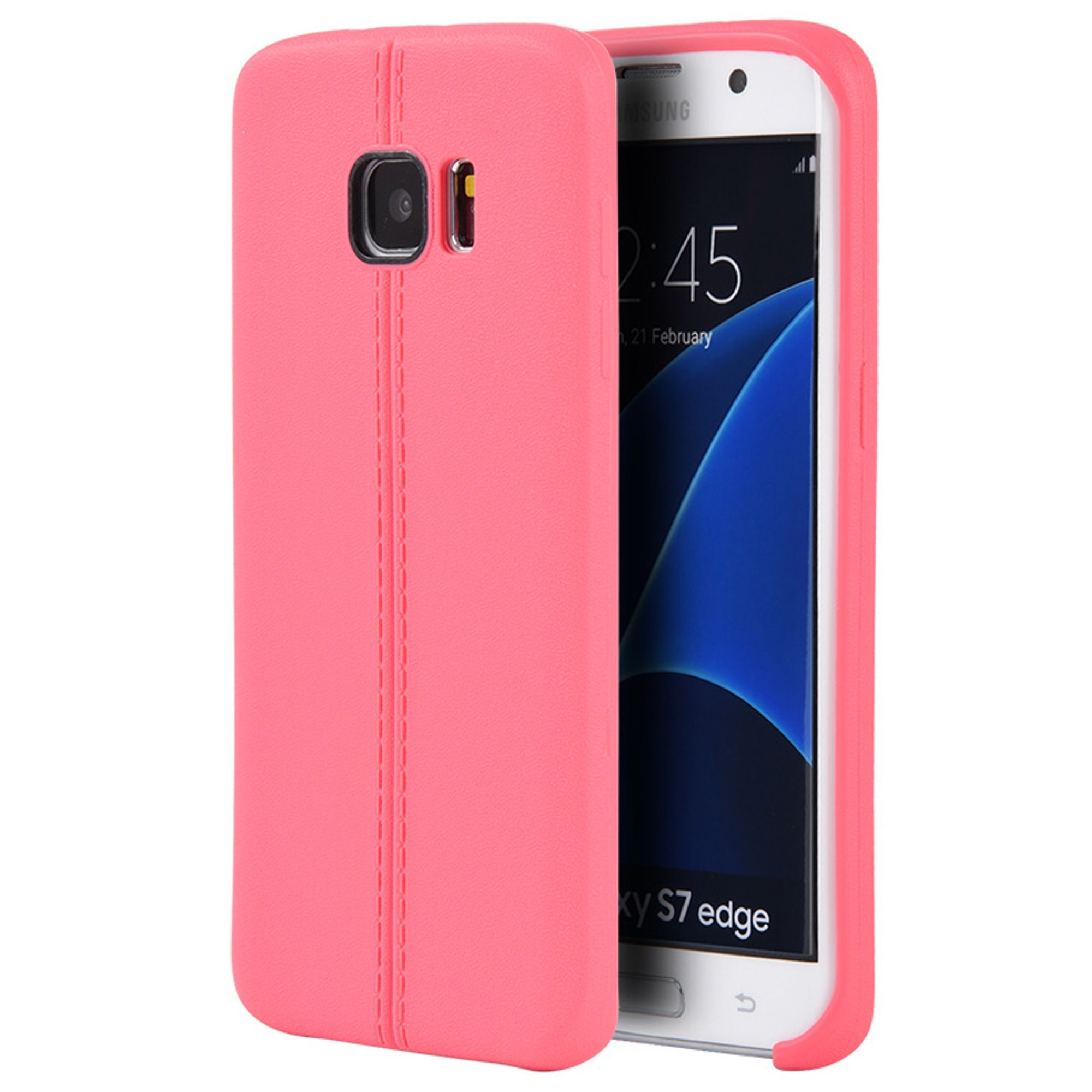 Samsung Galaxy S7 Edge Case, by Insten Slim Jacket Leather Look Finish TPU Rubber Skin Gel Case Cover For Samsung Galaxy S7 Edge