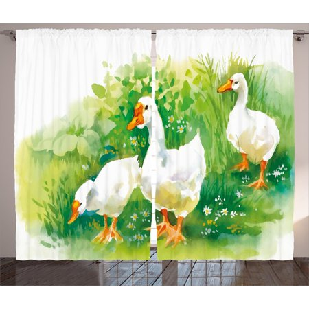 Duck Curtains 2 Panels Set, Goose in Farm Lake Plants Grass Reeds Flowers Pond Animals Geese Feathers Life, Window Drapes for Living Room Bedroom, 108W X 84L Inches, Green and White, by Ambesonne