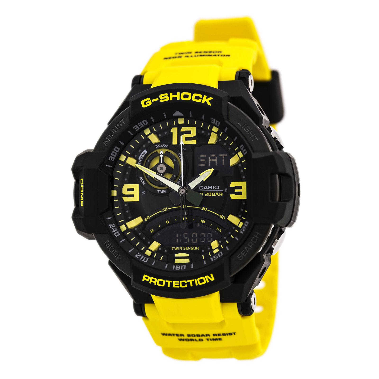Casio Men's G-Shock GA1000-9B Yellow Resin Quartz Watch