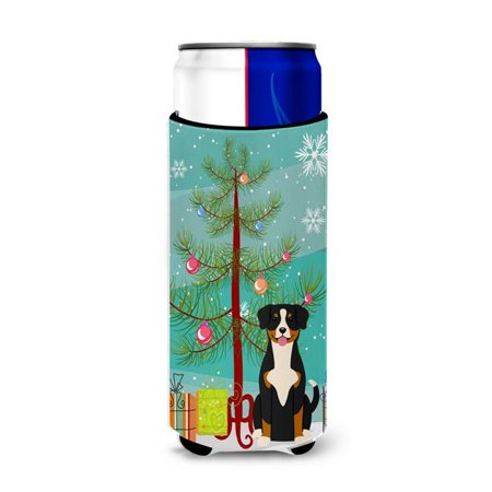 Merry Christmas Tree Entlebucher Michelob Ultra Hugger for Slim Cans ()