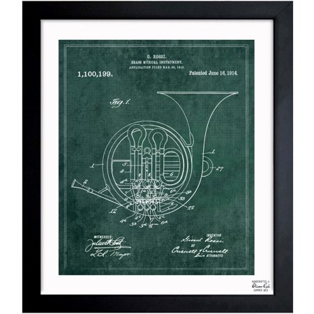 Oliver gal french horn instrument 1914 framed blueprint art oliver gal french horn instrument 1914 framed blueprint art malvernweather Image collections