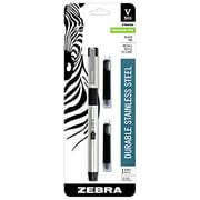 Zebra V-301 Stainless Steel Fountain Pen with Bonus Refill Fine Point 07mm Black Ink 1-Count
