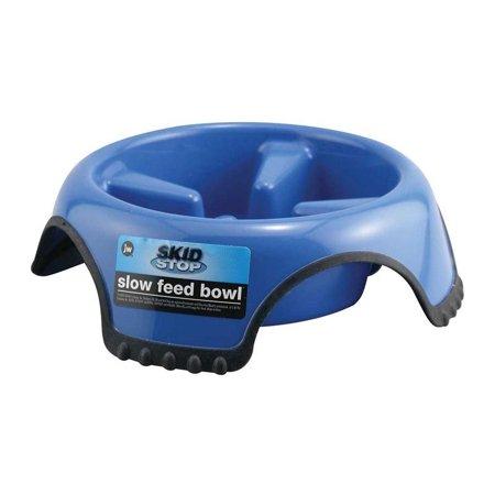 Skid Stop Slow Feeder Dog Bowl Blue Plastic Rubber Base Control Dish Choose Size (Large - 7