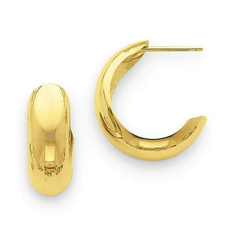 14kt Yellow Gold Polished 6.5mm J-Hoop Earrings