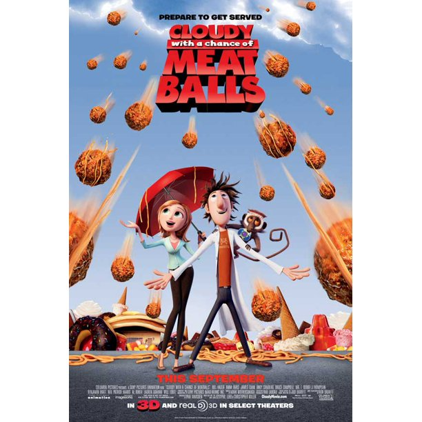 Cloudy With A Chance Of Meatballs 2009 11x17 Movie Poster Walmart Com Walmart Com
