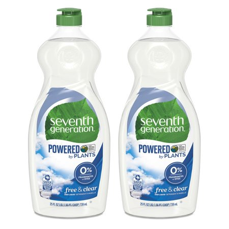 (2 pack) Seventh Generation Free & Clear Fragrance Free Dish Liquid Soap, 25