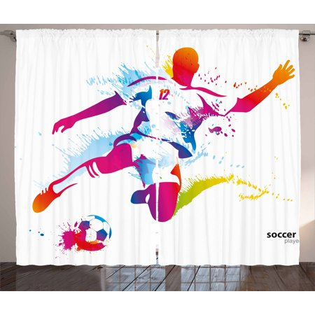 Teen Room Decor Curtains 2 Panels Set, Soccer Player Kicks the Ball Watercolor Style Spray Championship Image, Window Drapes for Living Room Bedroom, 108W X 84L Inches, Multicolor, by Ambesonne