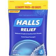 HALLS Relief Mentho-Lyptus flavor Cough Drops, 1 Bag (80 Total Drops)