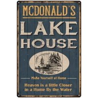 MCDONALD'S Lake House Blue Cabin Home Decor 8 x 12 High Gloss Metal 208120038127