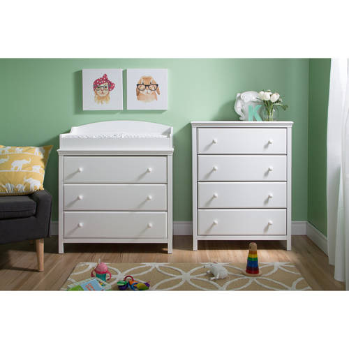South Shore Cotton Candy 3-Drawer Changing Table and 4-Drawer Chest, Multiple Finishes