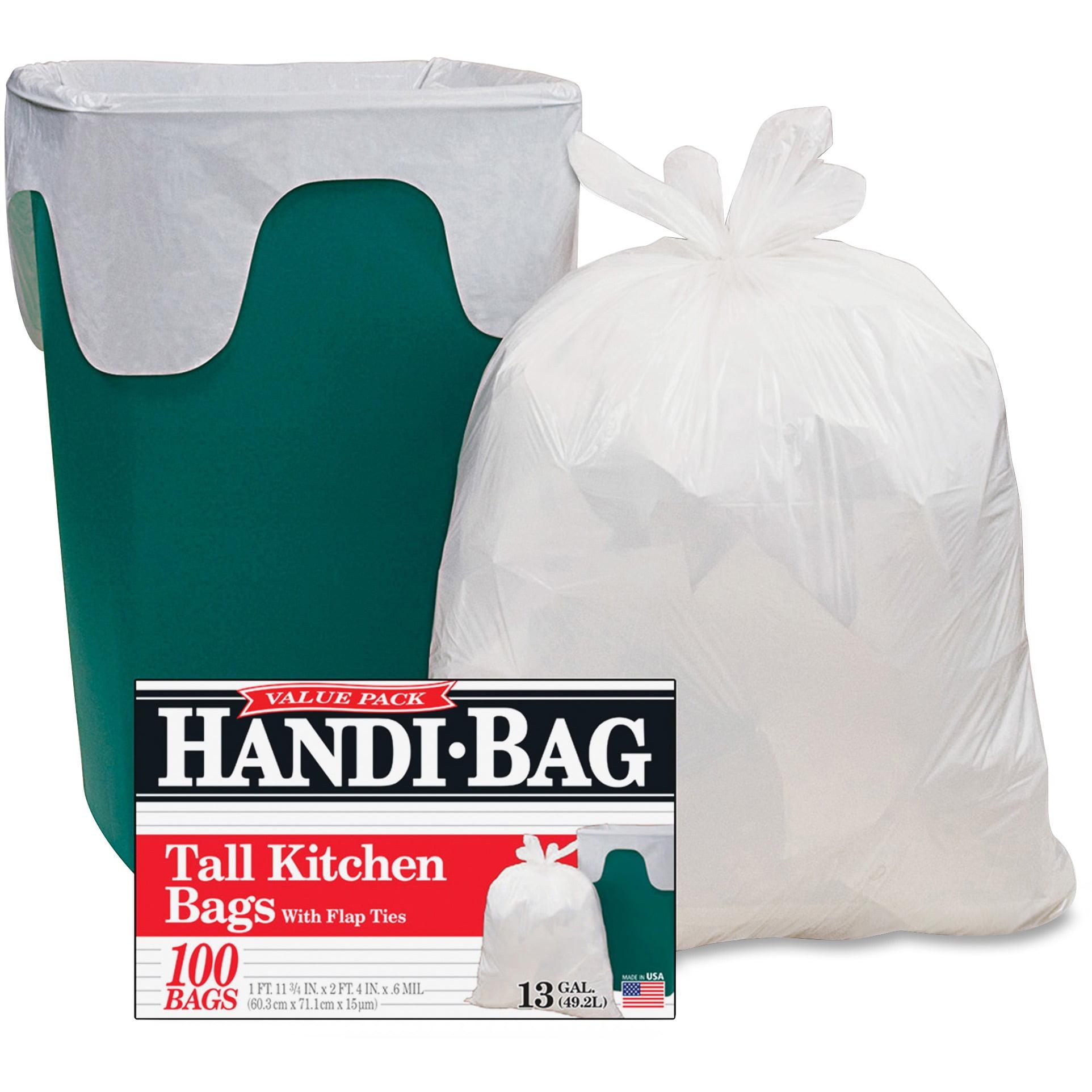Webster, WBIHAB6FK100, Handi-Bag Flap Tie Tall Kitchen Bags, 100 / Box, White, 13 gal
