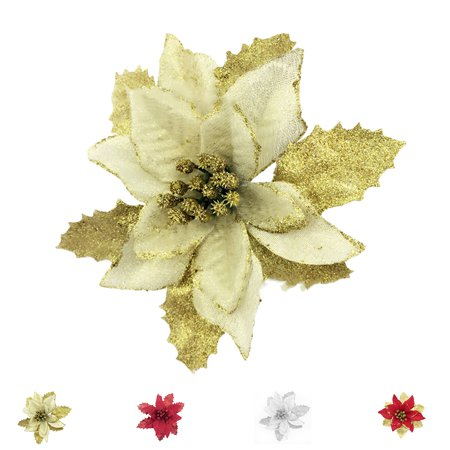 10pcs Glitter Poinsettia Christmas Tree Decorations Artificial Flowers Xmas 15cm Flower Wedding Ornaments Decor ()