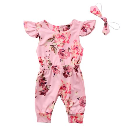 Cheap Infant Boutique Clothing (Newborn Infant Toddler Baby Girls Ruffled Romper Floral Bodysuit Sunsuit + Headband Summer Clothes Outfits 0-6)