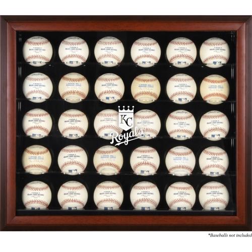 Kansas City Royals Fanatics Authentic Logo Mahogany Framed 30-Ball Display Case - No Size