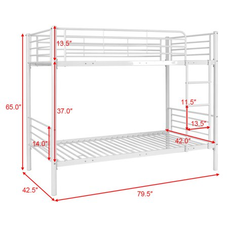 dc7a0c6281f32 Costway Metal Twin Over Twin Bunk Beds Ladder Kids Teens Dorm Bedroom  Furniture White - image ...