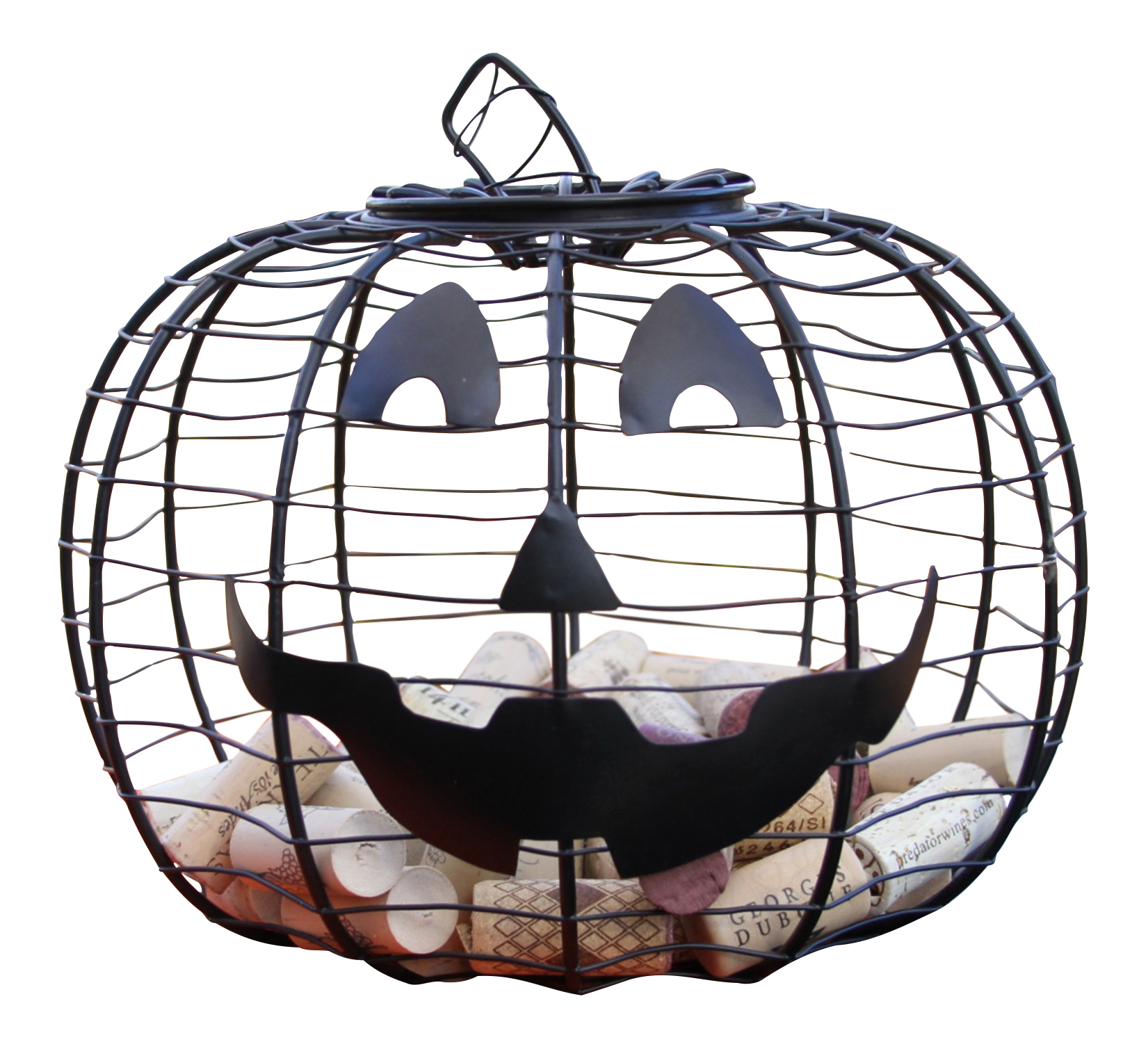 Halloween Jack O Lantern Black Wire Pumpkin 10 Inch Candy Holder