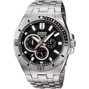Men's Black Dial Dive-Style Watch, Stainless Steel Bracelet