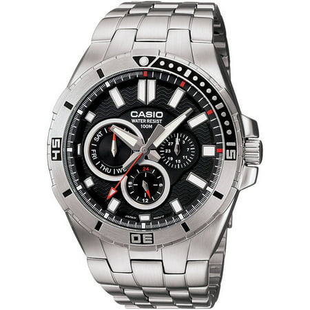 Men's Black Dial Dive-Style Watch, Stainless Steel Bracelet Series Black Dial Steel Bracelet