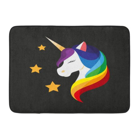 GODPOK Embroidery Unicorn with Closed Eyes Rainbow Mane Mobile Application on Black Flat Design Style Accessory Rug Doormat Bath Mat 23.6x15.7 (Different Eye Black Styles)