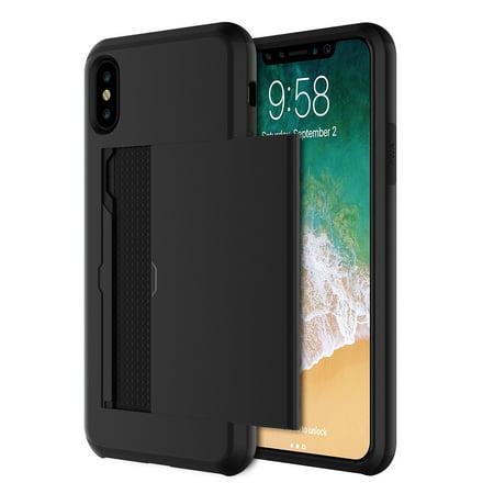 iPhone X Hybrid Wallet Case Black Credit Card Slot holder