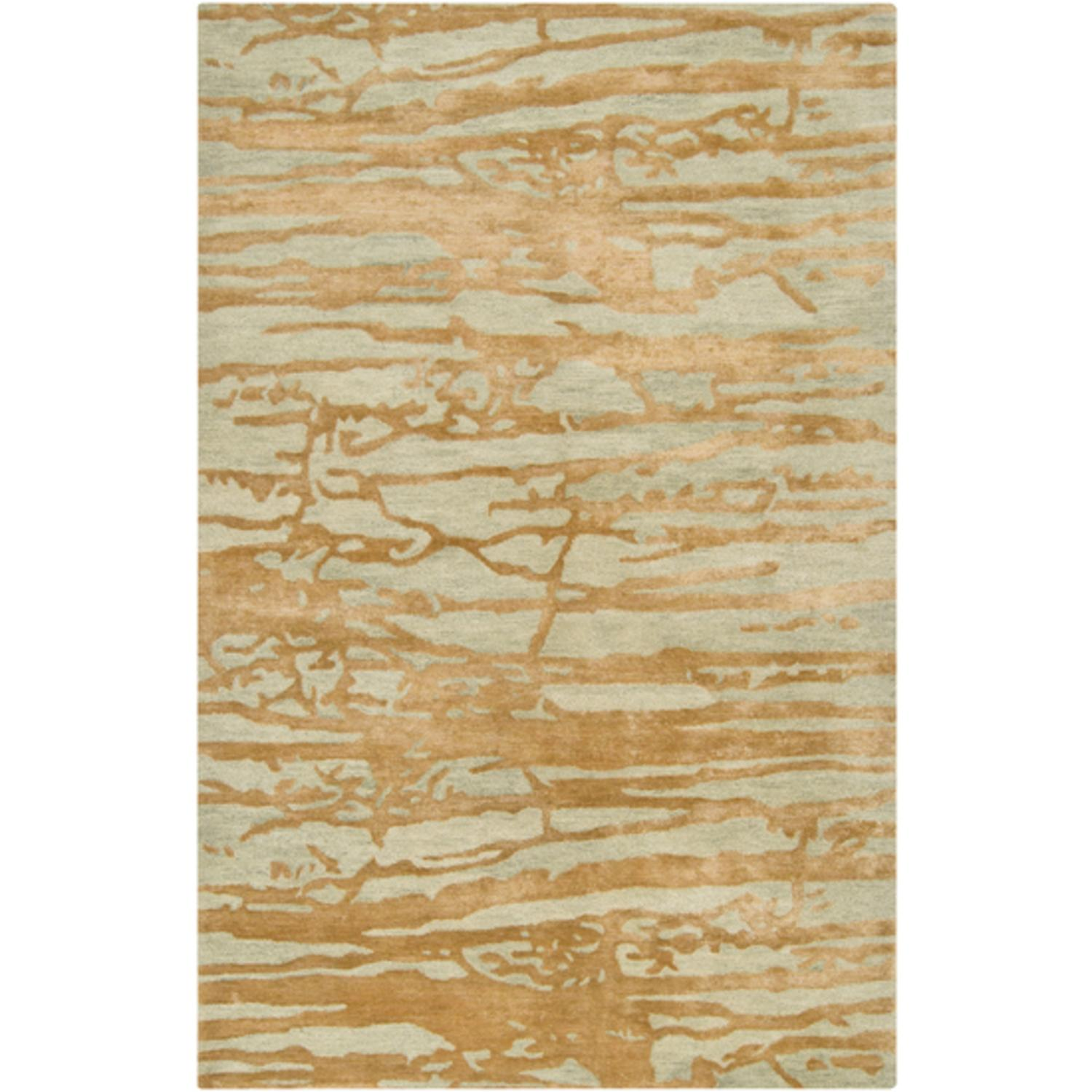 2.5' x 8' Grotto Mountain Rock Soft Sage Green and Gold Wool Area Throw Rug