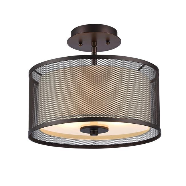 Lighting Audrey Transitional 2 Light Rubbed Bronze Semi Flush Ceiling Fixture Oil