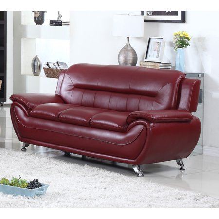 Norton Burgundy Faux Leather Modern Living Room Sofa
