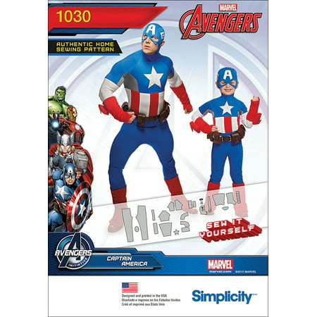 Simplicity Mens' & Childs' Size 3-8/S-XL Captain America Costume Pattern, 1 Each](Kids Captain America)