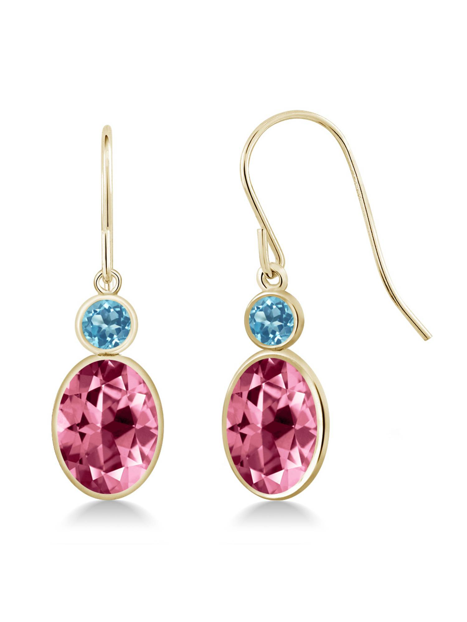 14K Yellow Gold Earrings Topaz Set with Oval Pink Topaz from Swarovski by