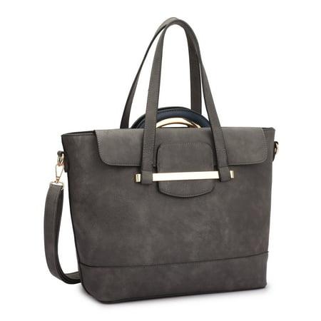 Dasein  2-in-1 Faux Leather Mini Satchel Handbag Tote (Tan Mini Handbag)