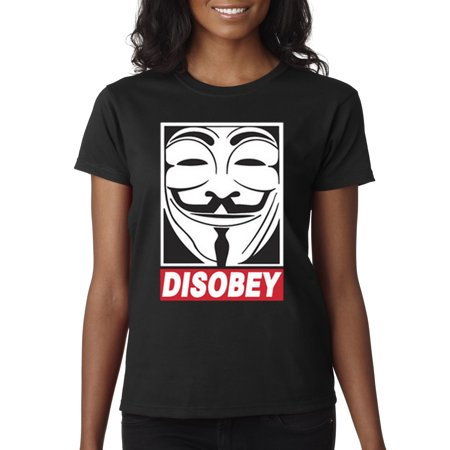 New Way 031 - Women's T-Shirt Disobey V For Vendetta Anonymous Fawkes Mask](Anonymous Mask Sale)