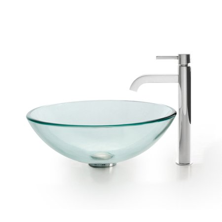 KRAUS Glass Vessel Sink with Ramus Faucet in Chrome
