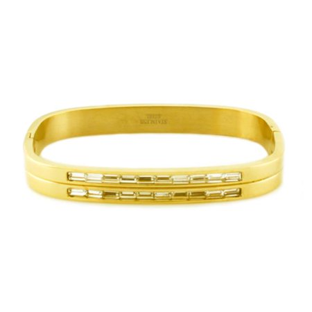 EWC B30378 Stainless Steel Gold Plated Bangle with Baguette CZ Cut