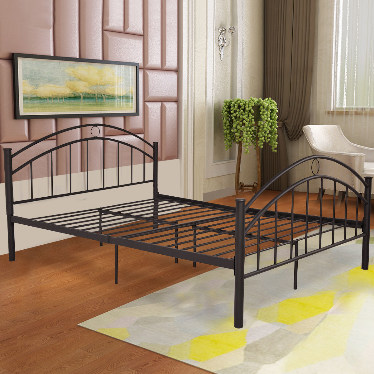 costway black queen size metal bed frame mattress platform headboard bedroom furniture