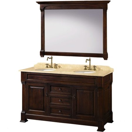 Wyndham Collection Andover 60 inch Double Bathroom Vanity in Dark Cherry, Ivory Marble Countertop, Undermount Oval Sinks, and 56 inch Mirror