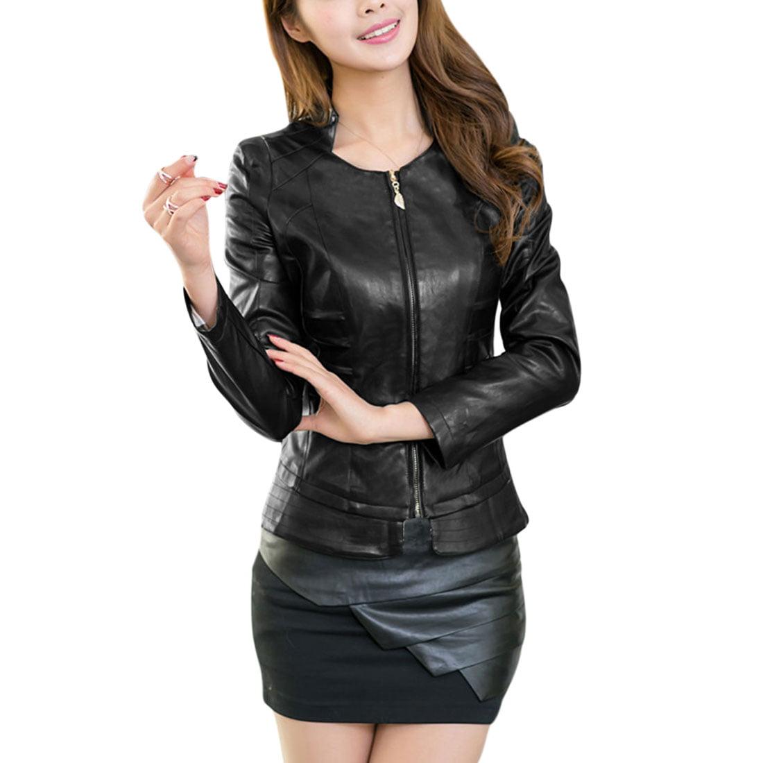 Ladier Stand Collar Zipper Slim Fit Stylish Imitaion Leather Jacket Black L
