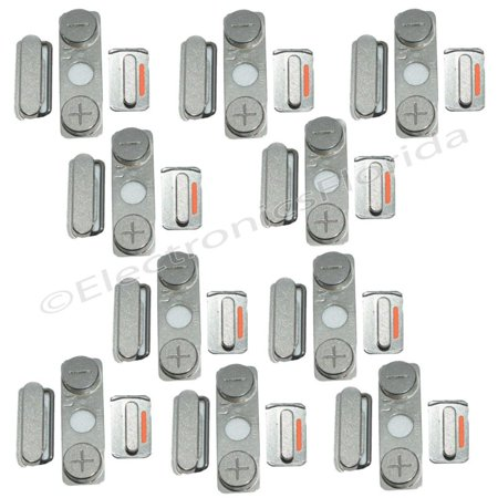 Locking Mute Switch (LOT Lock Key Side Volume Mute Switch Power Button Set for iPhone 4s Silver)