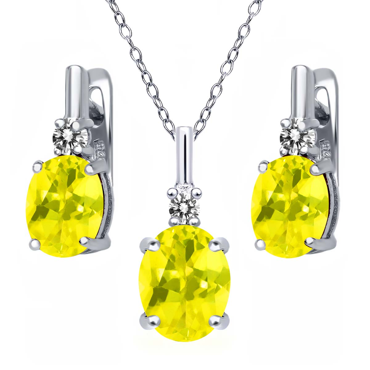 6.97 Ct Canary Mystic Topaz White Diamond 925 Silver Pendant Earrings Set by