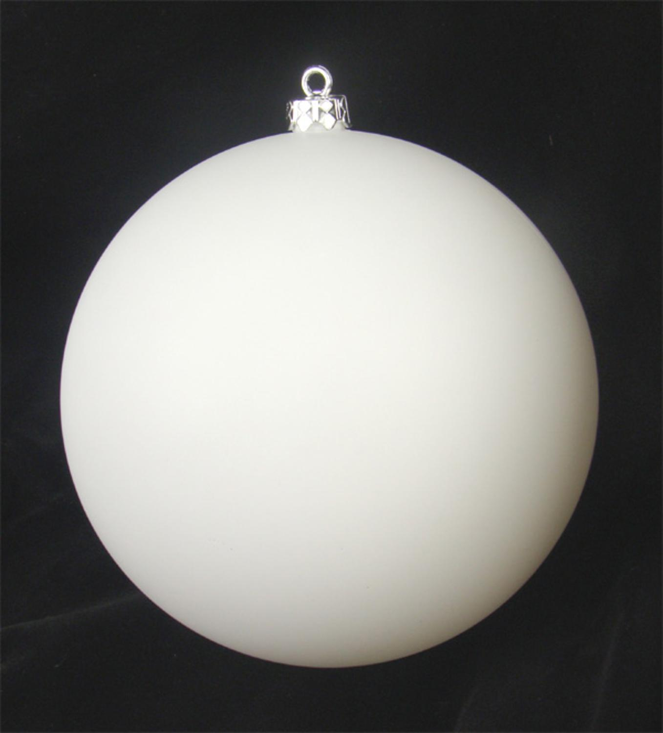 """Shatterproof Matte Winter White Christmas Ball Ornament 10"""" (250mm)"""