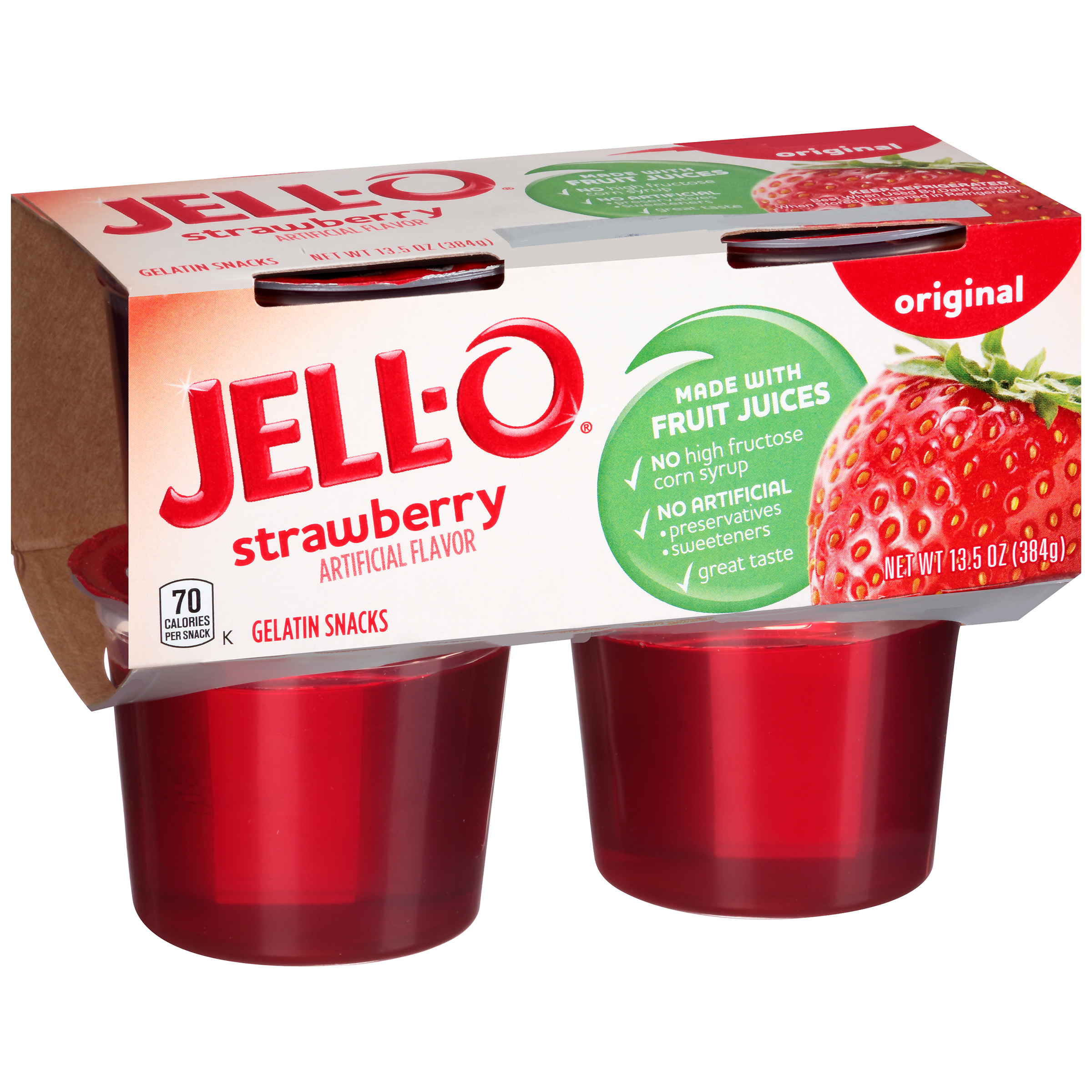 Jell-O Ready to Eat Strawberry Gelatin Snacks, 13.5 oz Sleeve (4 Cups)