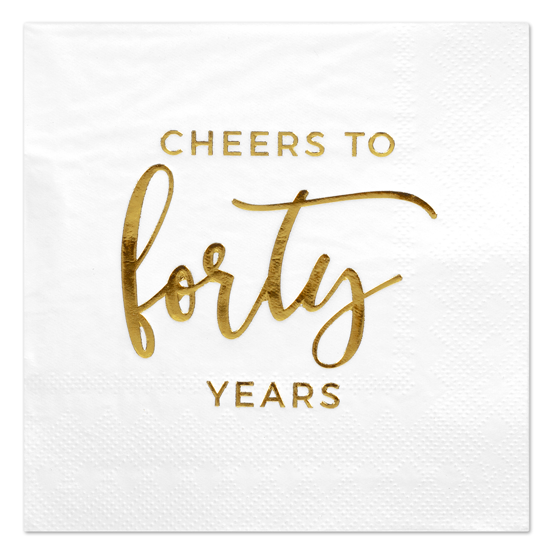 Koyal Wholesale Cheers to Fifty, Funny Quotes Cocktail Napkins, Gold Foil, Bulk 50 Pack Count 3 Ply Napkins